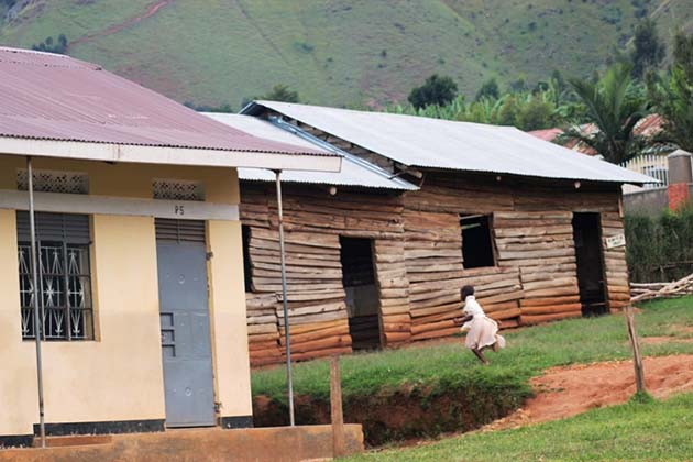 The old wooden classrooms to be replaced